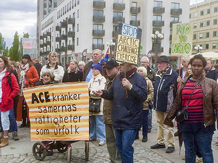 Demonstration i Stockholm i samband med starten av ACE. Foto: Charlotte Thege